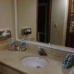 the bathroom's wash basin, its spacious for toiletries