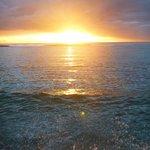 sunset at the resort beach