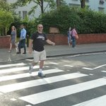 A Beatles fan, doing the iconic walk!