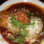 The garlic shrimp burrito with green and red chilli sauce.