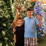 photo bombed by a giraffe only at Bronner's