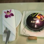 Birthday cake provided by hotel