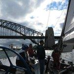 Approaching Sydney Harbour Bridge with a good breeze.