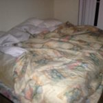 master bedroom with dirty bed sheets from previous occupant