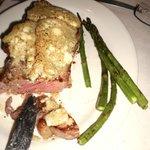 gorgonzola-crusted NY strip steak