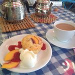 Peach muffin with ice cream & a cup of tea- perfect :-)