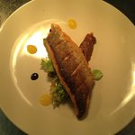 Sea bass with burnt apple purée and orange syrup