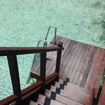 The steps leading into water from our balcony