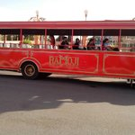 Bus that takes visitors around the grounds