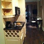 sink, mini fridge, microwave