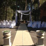 One of many outdoor ceremony set ups