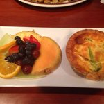Quiche of the day (broccoli, bacon, and Swiss) and fruit