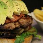 Burger with bacon, avo ....