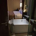 bathroom into bedroom area