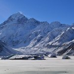 Mt Cook and frozen Lake