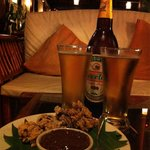 A beer before dinner at Pakbeng lodge