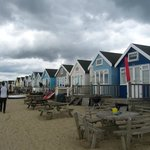 Array of beach huts ground level...