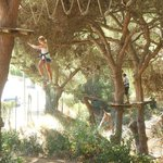 Climbing through the trees at Parque Aventura