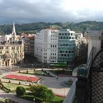 A View of Federico Moyúa Sq and the Iberdrola Tower from our room.