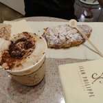 Our yummy almond croissant and cappuccino