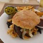 Very good conch sandwich in poolside restaurant. Fly & bird problem though.