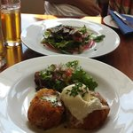 Salmon fishcakes with poached egg and duck with fig salad