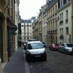 view from hotel door onto street