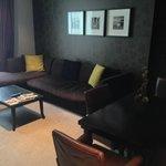 lounge area with huge sofa