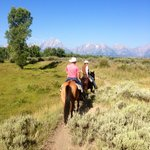 Riding with a view of the Tetons