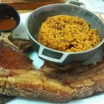 Chuleta kan kan y arroz mampostiao