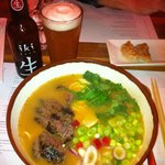 Chili Beef Ramen with Chicken Gyoza and Japanese Iki Beer