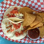 fish tacos with chips and salsa
