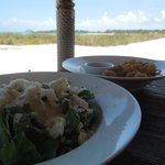 Food was delicious at Bare Foot by the Sea you can put your toes in the sand.