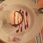 Warm chocolate cake with vanilla ice cream