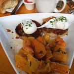 Risotto Cakes, Butternut squash, poached eggs and croissant