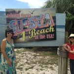 Friends at the lovely Siesta Key sign
