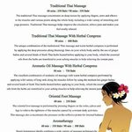Price list and description of massages