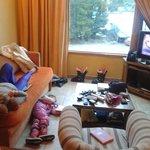 Mirando la tele después del ski
