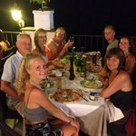 family dining out on the terrace