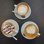 (Clockwise) Cappuccino, latte, mocha.
