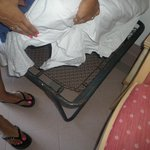 Fold up kid bed. This was changed the next day