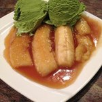 fried banana with green tea ice cream