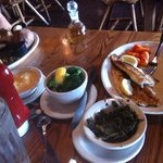 Lemon grilled salmon, turnip greens, steamed broccoli, cheese grits, catfish, green beans, baked