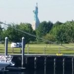 Statue of Liberty from parking lot of Liberty Harbor RV & Marina