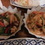 Pad Kra Pao with prawns & Panang curry with pork