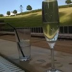 anniversary bubbles in the outside spa pool
