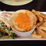 Seafood pie and chips