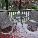 Our porch after the hail storm in July