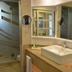 Bathroom sink, Mirrors everywhere (nice touch)