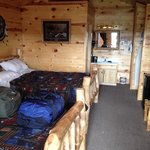Interior of our cabin. Nicely furnished. Great rustic western frontier decor.